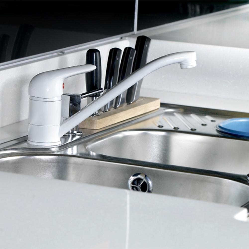 White Monobloc Kitchen Taps Tristar White Monobloc Single Lever Swivel Spout Kitchen Sink