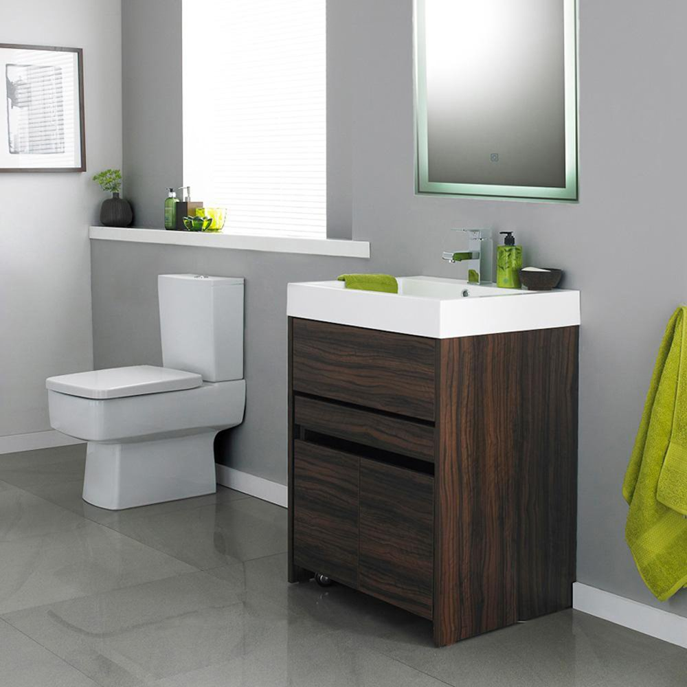 walnut floor standing cabinet pull out cupboard 1th basin mirror