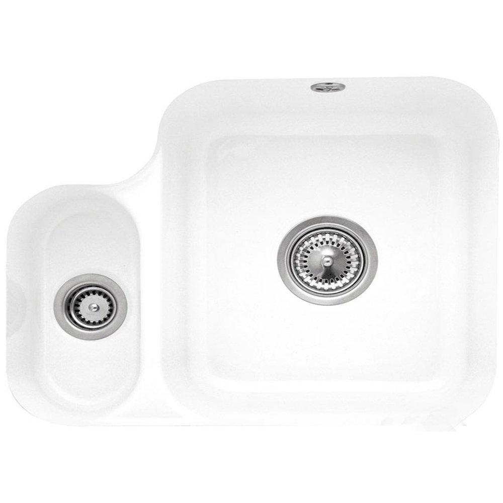 villeroy boch cisterna 60b 15 bowl white ceramic undermount kitchen sink no waste p25928 127724 zoom