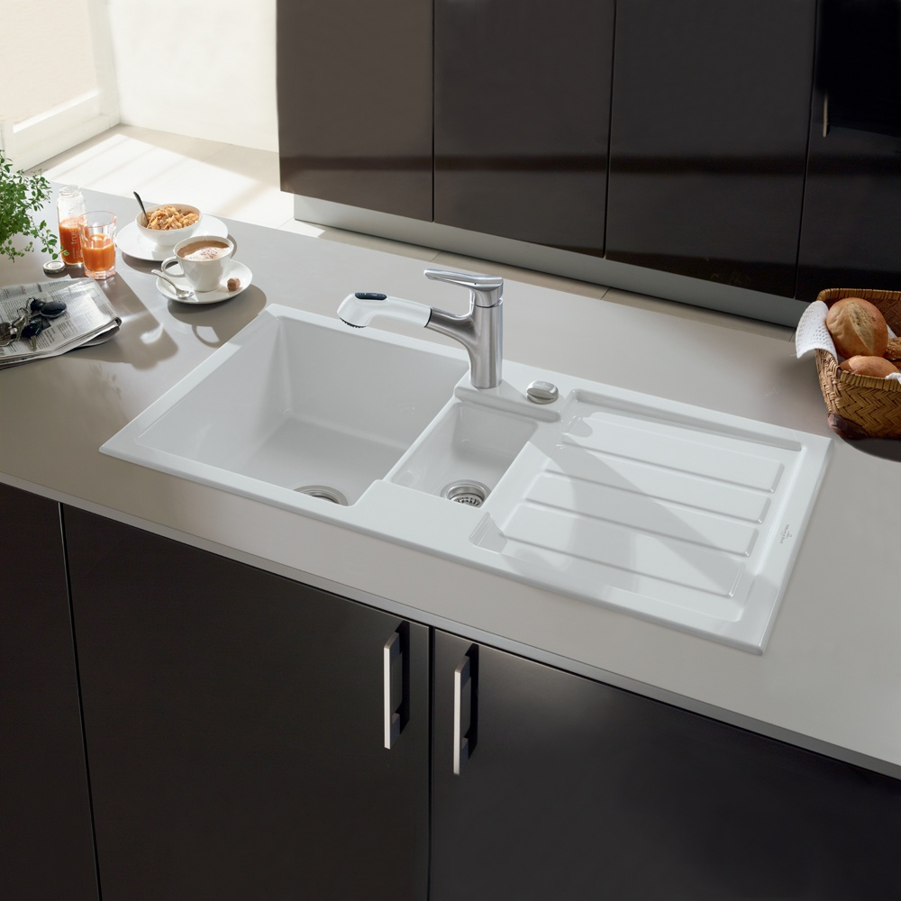 ... Villeroy U0026 Boch Flavia 60 1.5 Bowl White Ceramic Kitchen Sink U0026 Waste  ...