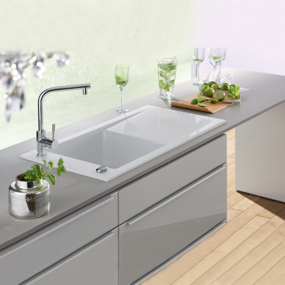 ... Villeroy U0026 Boch Timeline 60 1.0 Bowl White Ceramic Kitchen Sink U0026 Waste  ...