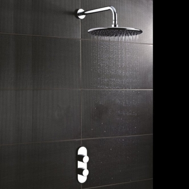 None Yosemite Concealed Round Slimline Chrome Thermostatic Shower